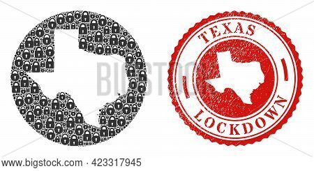 Vector Mosaic Texas State Map Of Locks And Grunge Lockdown Seal. Mosaic Geographic Texas State Map C