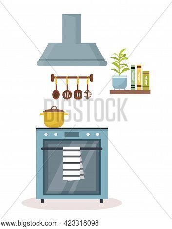 Cooking Food Vector Illustration. Stove In Kitchen, Cooking. Saucepan On Stove. Illustration On Whit