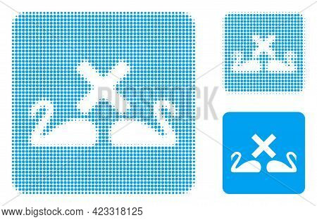 Divorce Swans Halftone Dotted Icon. Halftone Array Contains Circle Elements. Vector Illustration Of