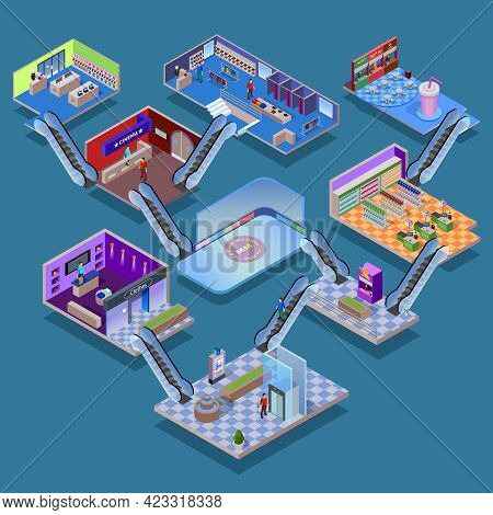 Many-storeyed Shopping Mall With Various Department Cinema Food Court And Ice Rink Isometric Concept