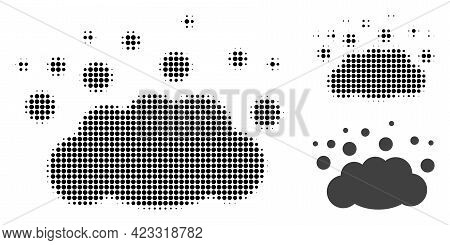 Cloud Emission Halftone Dotted Icon. Halftone Pattern Contains Circle Pixels. Vector Illustration Of