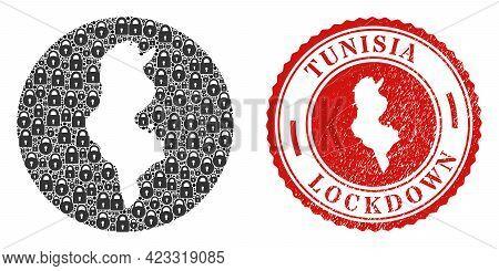Vector Mosaic Tunisia Map Of Locks And Grunge Lockdown Seal. Mosaic Geographic Tunisia Map Construct