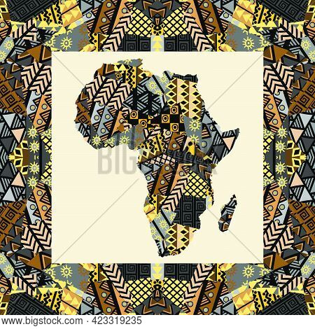 Africa Map With Ethnic Motifs In A Middle Of A Frame