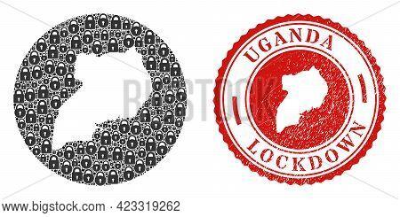 Vector Mosaic Uganda Map Of Locks And Grunge Lockdown Seal. Mosaic Geographic Uganda Map Designed As