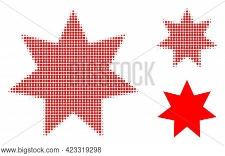 Eight Corner Star Halftone Dotted Icon. Halftone Array Contains Round Dots. Vector Illustration Of E