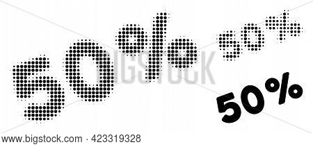50 Percents Halftone Dotted Icon. Halftone Pattern Contains Round Elements. Vector Illustration Of 5