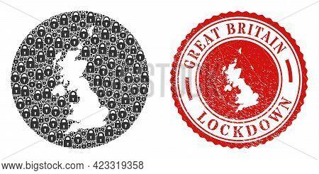 Vector Mosaic United Kingdom Map Of Locks And Grunge Lockdown Seal. Mosaic Geographic United Kingdom