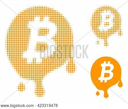 Melting Bitcoin Halftone Dotted Icon. Halftone Pattern Contains Circle Pixels. Vector Illustration O