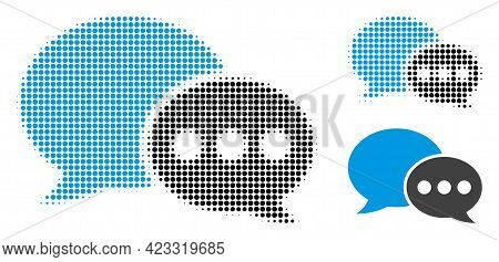 Forum Messages Halftone Dotted Icon. Halftone Array Contains Circle Pixels. Vector Illustration Of F