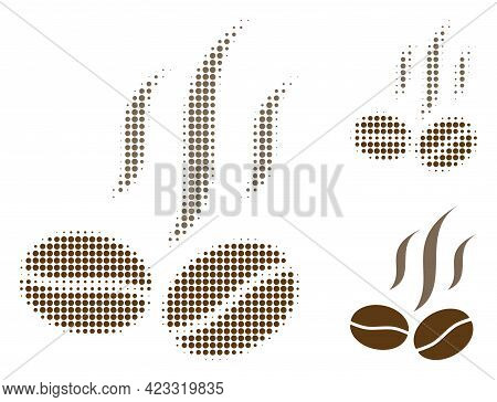 Coffee Beans Smell Halftone Dotted Icon. Halftone Pattern Contains Circle Points. Vector Illustratio