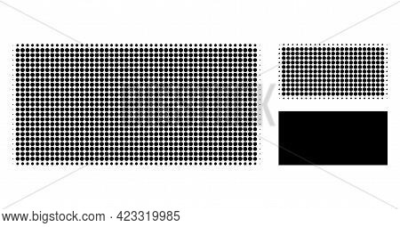 Filled Rectangle Halftone Dotted Icon. Halftone Array Contains Circle Pixels. Vector Illustration Of