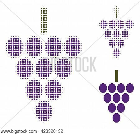 Grape Berry Halftone Dotted Icon. Halftone Pattern Contains Circle Points. Vector Illustration Of Gr