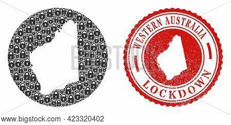 Vector Mosaic Western Australia Map Of Locks And Grunge Lockdown Stamp. Mosaic Geographic Western Au