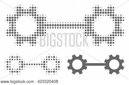 Gear Links Halftone Dotted Icon. Halftone Array Contains Circle Pixels. Vector Illustration Of Gear