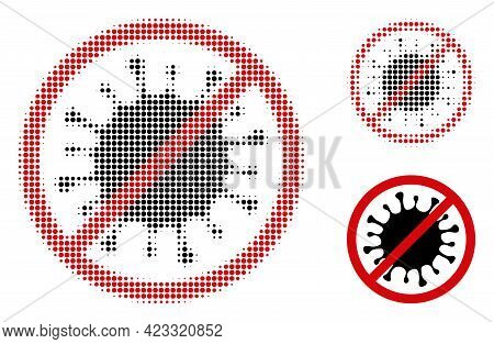 Stop Microbe Halftone Dotted Icon. Halftone Pattern Contains Round Dots. Vector Illustration Of Stop
