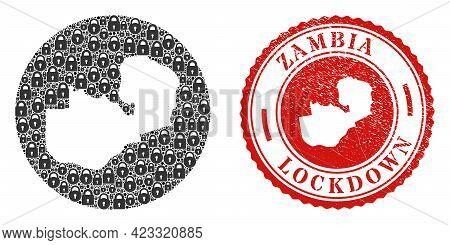 Vector Mosaic Zambia Map Of Locks And Grunge Lockdown Seal Stamp. Mosaic Geographic Zambia Map Creat