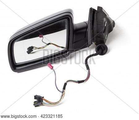 Blank Empty Screen Rearview Car Mirror On White Isolated Background. Blank Rear View Mirror With A C