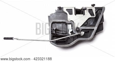Detail Of A Car Spare Part Made Of Black Plastic And Metal - Door Lock Separately Isolated On A Whit