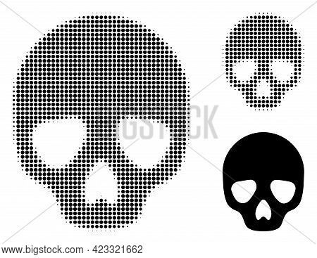 Skull Halftone Dotted Icon. Halftone Array Contains Circle Elements. Vector Illustration Of Skull Ic