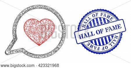 Vector Net Mesh Favorite Message Wireframe, And Hall Of Fame Blue Rosette Corroded Stamp. Crossed Fr