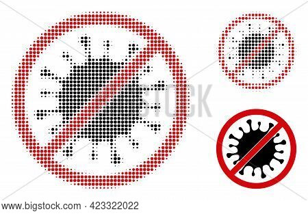 Stop Microbe Halftone Dotted Icon. Halftone Pattern Contains Round Elements. Vector Illustration Of