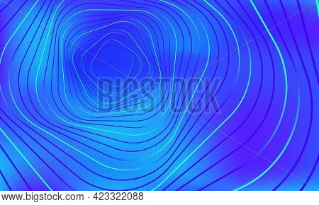 Abstract Geometric Banner. Swirling Blue Lines On Gradient Background. Whirl Square Shape, Wave Stri