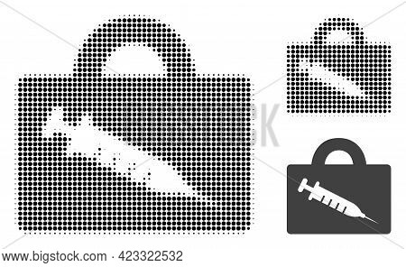 Vaccine Case Halftone Dotted Icon. Halftone Pattern Contains Round Points. Vector Illustration Of Va