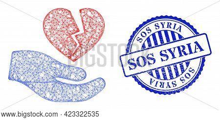Vector Network Broken Heart Offer Hand Model, And Sos Syria Blue Rosette Grunge Badge. Crossed Frame