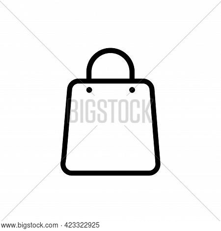 Flat Gift Bag Vector Icon For Web Design. Fashion Eco Paper Bag For Buy In Mall. Symbol, Logo Illust