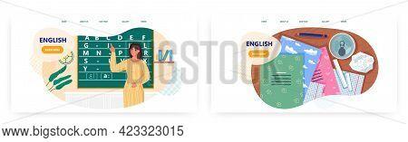 English Lesson Landing Page Design, Website Banner Vector Template. School Teacher Teaching English