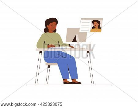Girl Listening Her School Teacher On Online Lesson At Home. American African  Female Pupil Studying