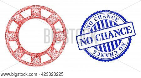 Vector Net Casino Chip Wireframe, And No Chance Blue Rosette Corroded Stamp Seal. Linear Frame Net S