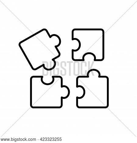 Puzzle Vector Line Icon, Four Piece. Solution Jigsaw Logo. Flat Vector Illustration. Black Outline P