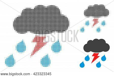 Thunderstorm Halftone Dotted Icon. Halftone Array Contains Round Points. Vector Illustration Of Thun