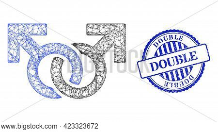 Vector Net Gay Pair Symbol Carcass, And Double Blue Rosette Textured Watermark. Crossed Frame Net Im