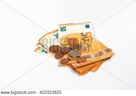 Fifty Euro Banknotes Isolated Over A White Background