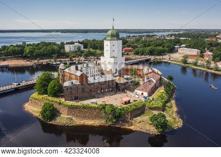 Aerial View Of Vyvorg Castle. Medieval Swedish Stronghold Set On An Island