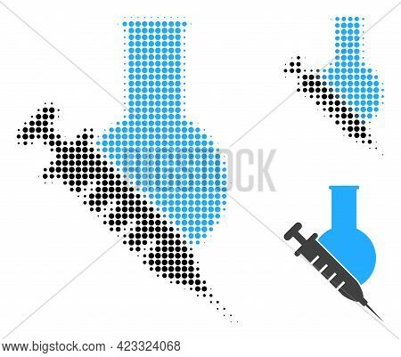 Vaccine Labs Halftone Dotted Icon. Halftone Pattern Contains Round Dots. Vector Illustration Of Vacc