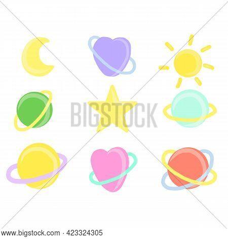 Cute Hand Draw Planets Set. Astronomy For Children. Childish Flat Cartoon Vector Illustration.