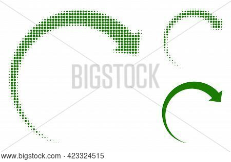 Rotate Forward Halftone Dotted Icon. Halftone Pattern Contains Round Pixels. Vector Illustration Of