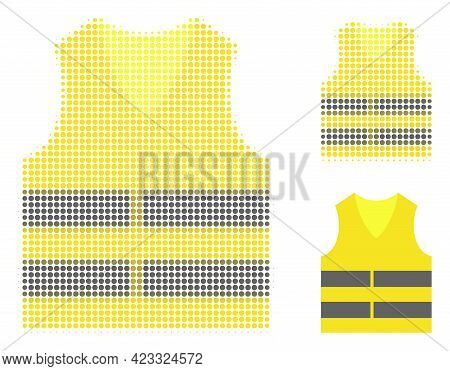 Yellow Vest Halftone Dotted Icon. Halftone Array Contains Circle Dots. Vector Illustration Of Yellow