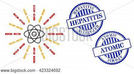 Vector Network Atomic Radiation Framework, And Hepatitis Blue Rosette Corroded Stamp. Crossed Carcas