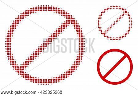 Restrict Halftone Dotted Icon. Halftone Array Contains Circle Elements. Vector Illustration Of Restr