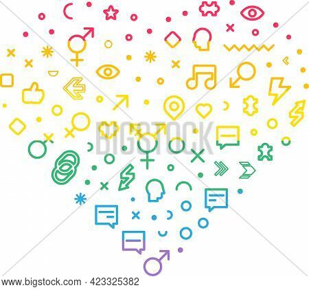 Lgbt Pride Rainbow Flag In Heart Forms Set Vector