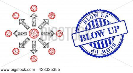 Vector Net Expansion Frame, And Blow Up Blue Rosette Corroded Seal. Wire Frame Net Illustration Crea