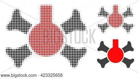 Poison Flask Halftone Dotted Icon. Halftone Pattern Contains Round Pixels. Vector Illustration Of Po