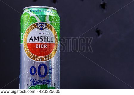 Tyumen, Russia-may 25, 2021: Amstel Beer Can Non-alcoholic With Lime And Mint.