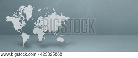 World Map Isolated On Grey Wall Background. 3d Illustration. Horizontal Banner