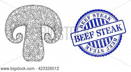Vector Network Champignon Mushroom Framework, And Beef Steak Blue Rosette Corroded Stamp Seal. Linea