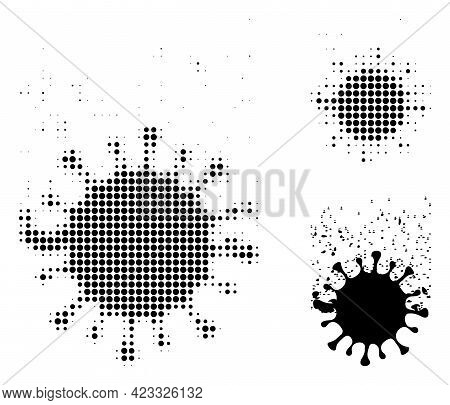 Virus Dissipation Halftone Dotted Icon. Halftone Pattern Contains Circle Dots. Vector Illustration O